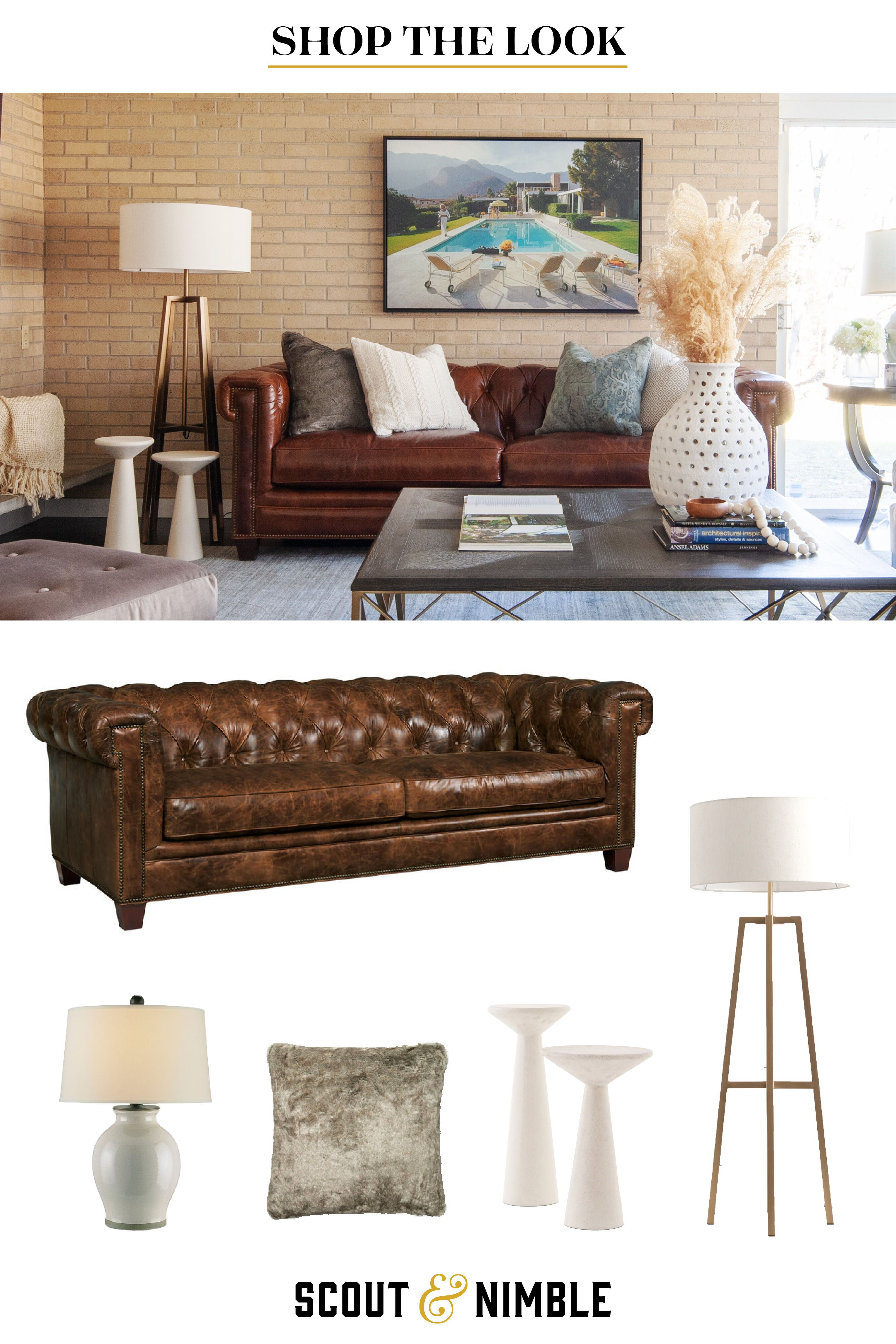 Click To Shop This Transitional Living Room Mixed Mod Project Leather Chesterfield Sofa Fur Pillow Moder Livingroom Layout Living Room Home Decor Shops #transitional #living #room #furniture