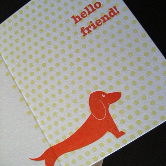 1305  Hello Friend Letterpress Card by anemoneletterpress on Etsy