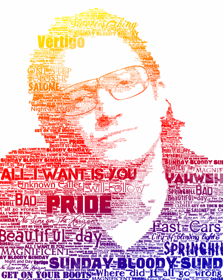 Pin By Drew Dingman On Typo Bono Typography Portrait Bono U2