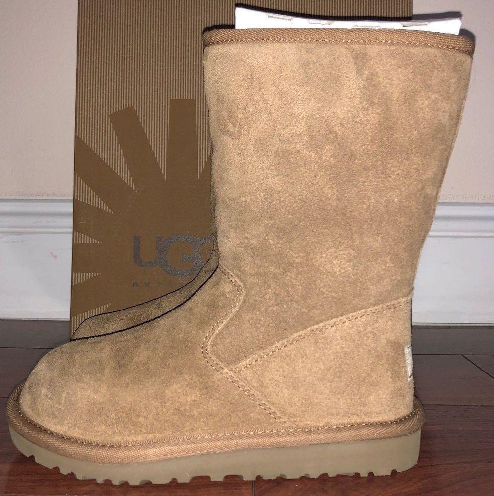 d2f831381f8 Girls Ugg Australia Chestnut Brown Lil Sunshine Suede Boots Style ...