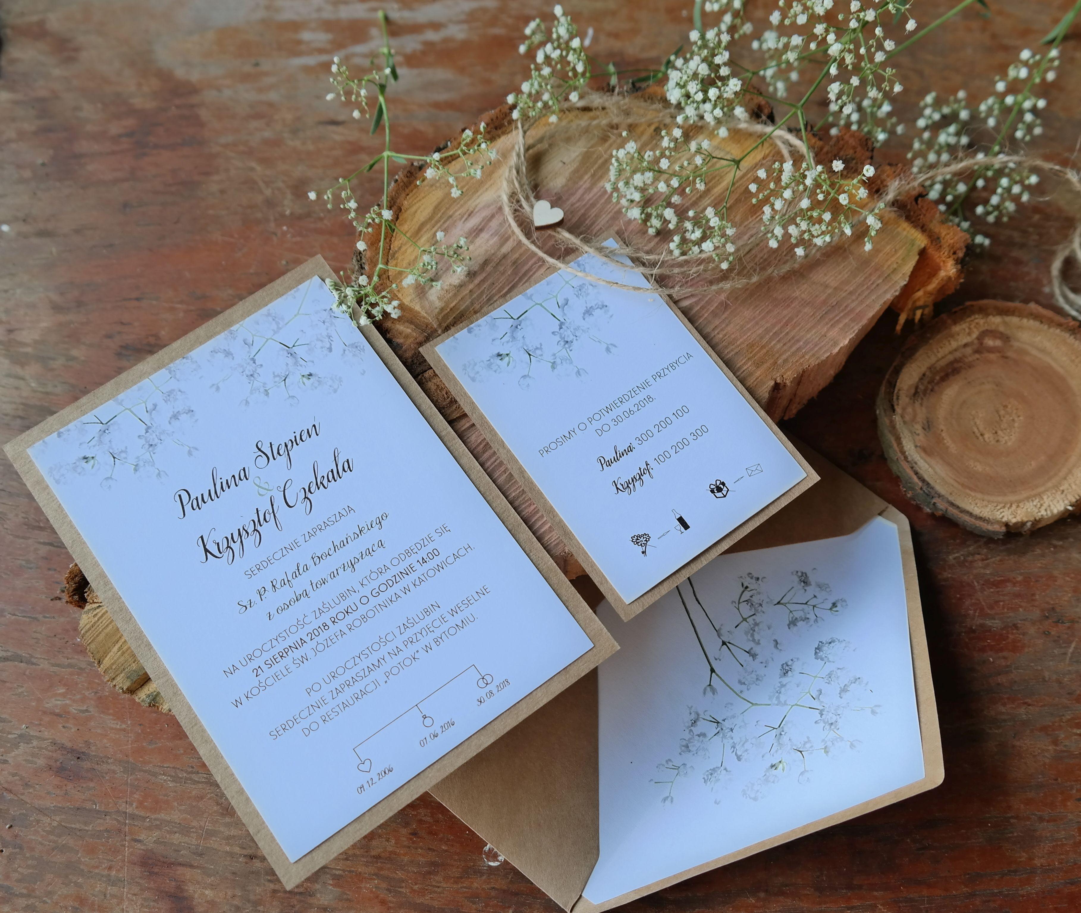Zaproszenie Slubne Rustykalne Z Gipsowka Wedding Invitations Place Card Holders Invitations