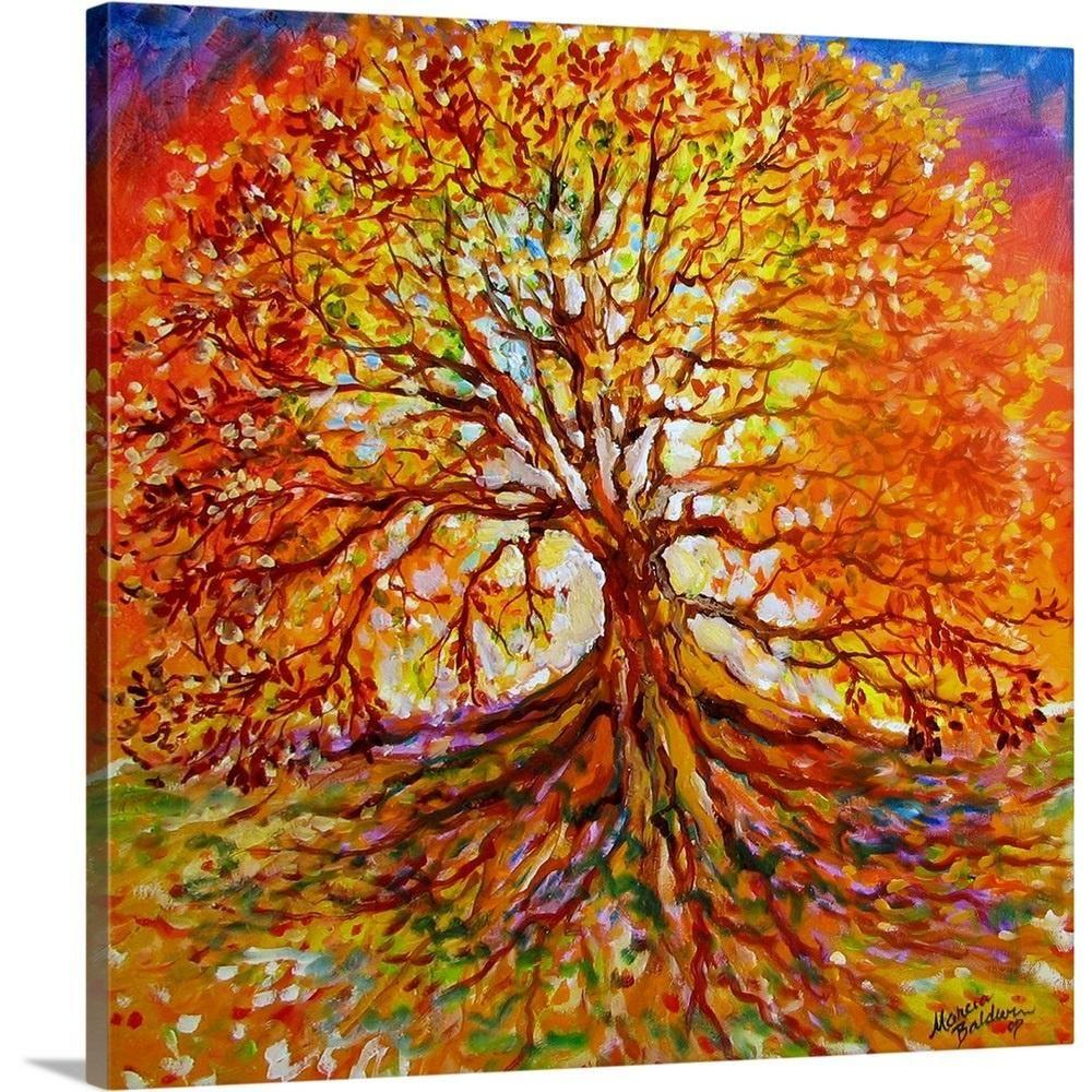 Greatbigcanvas 36 In X 36 In Tree Of Life Autumn Sunset