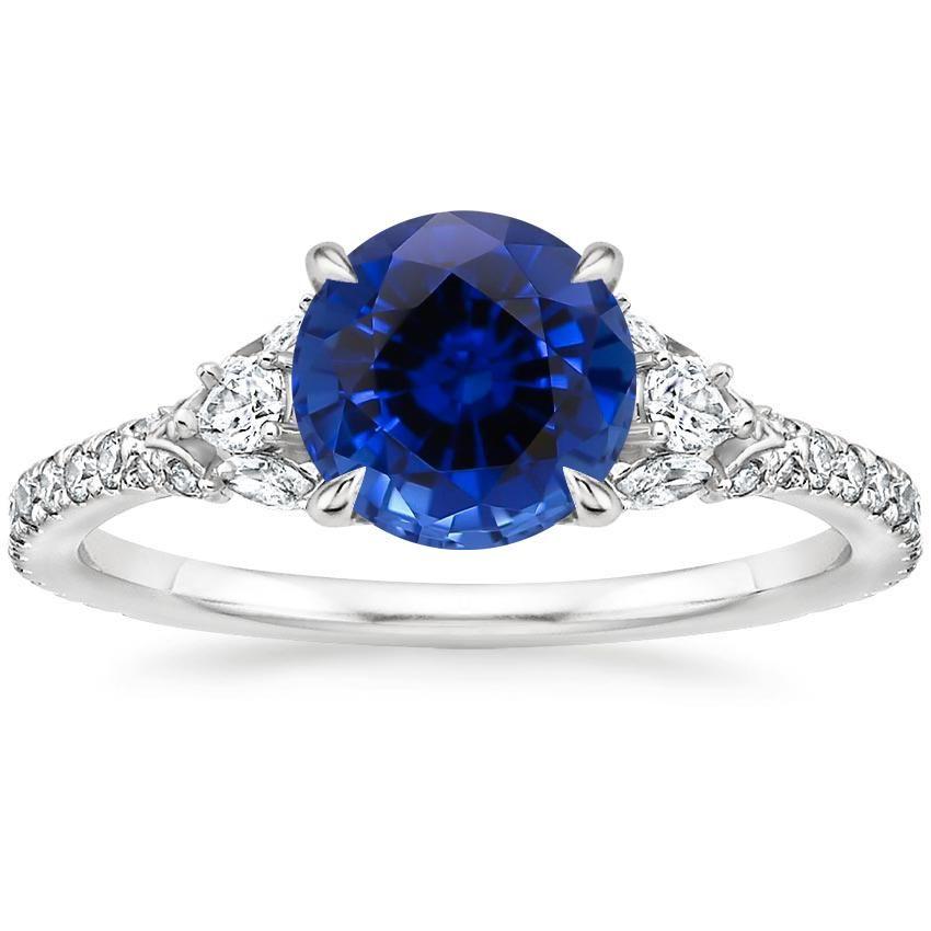 18k White Gold Sapphire Ava Diamond Ring 1 2 Ct Tw Sapphire Diamond