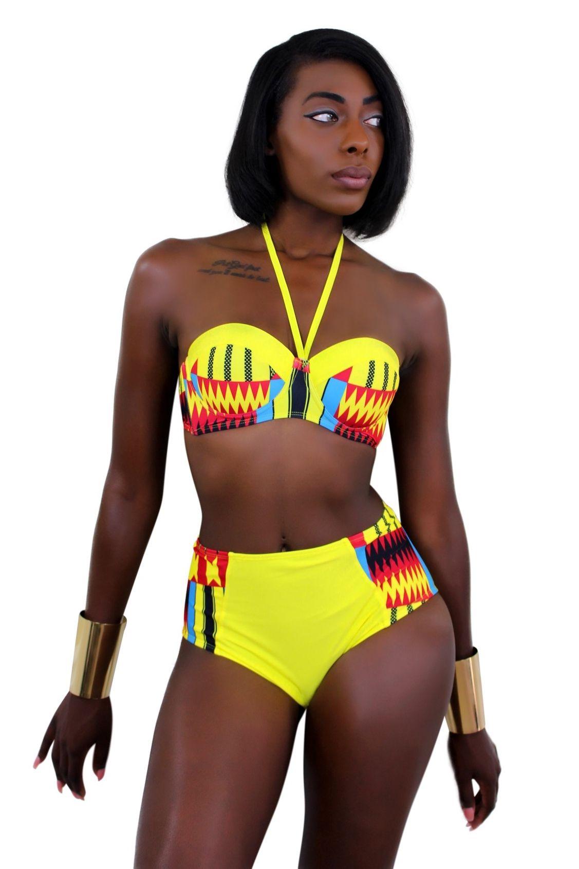 Kente African print Swimwear 2 pieces Bikini Yellow, Red