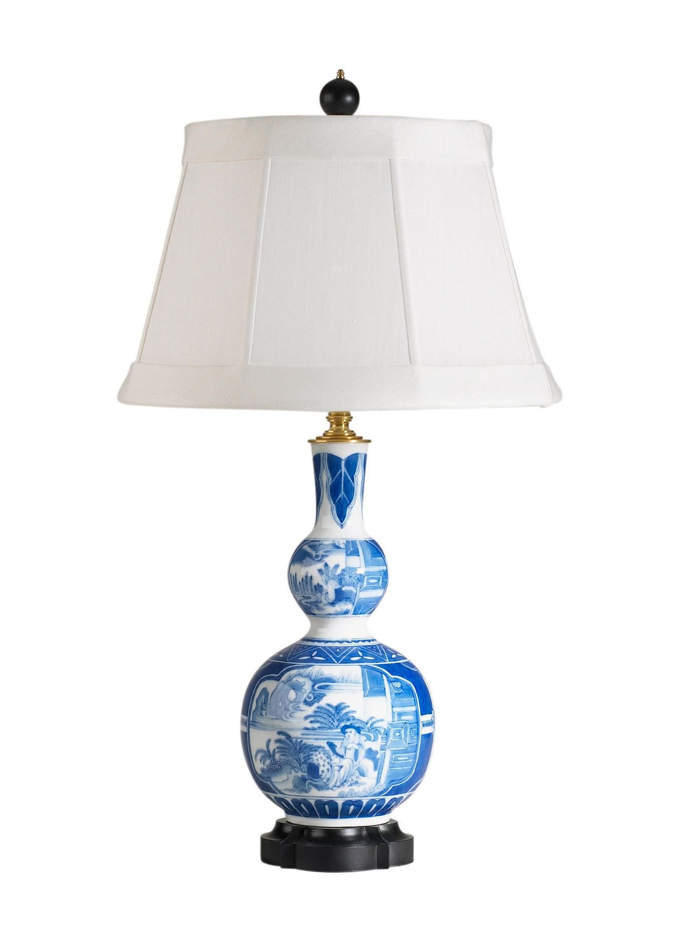 "This beautiful porcelain lamp has hand painted scenes and measures 27""H. The…"