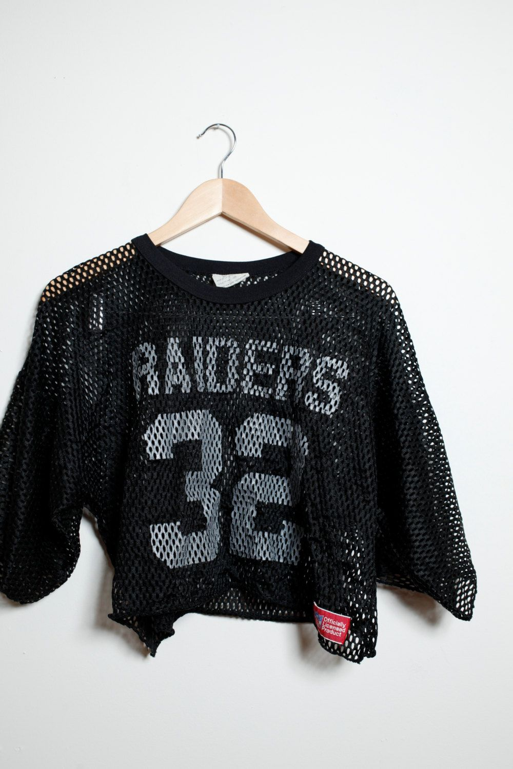 84c14973786e57 Vintage 90s Goth Raiders Mesh Black and White Crop Top NFL Jersey Unisex by  LipstickDinosaur on Etsy
