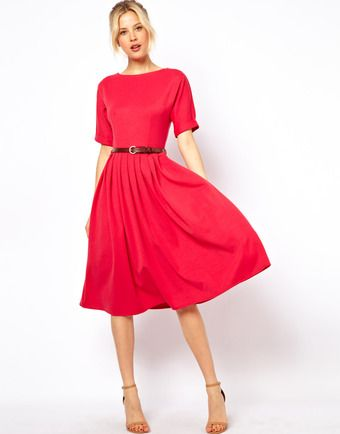 509e2ee6fa Asos Midi Dress with Full Skirt and Belt - Lyst | Outfits | Pleated ...