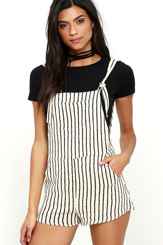eb5d8cc0c149 The Billabong Sunny Dazer Black and Cream Striped Romper is the perfect  companion for dune buggy races