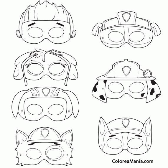 Colorear Máscaras de Patrulla canina … | Masks and Costumes | Pinte…