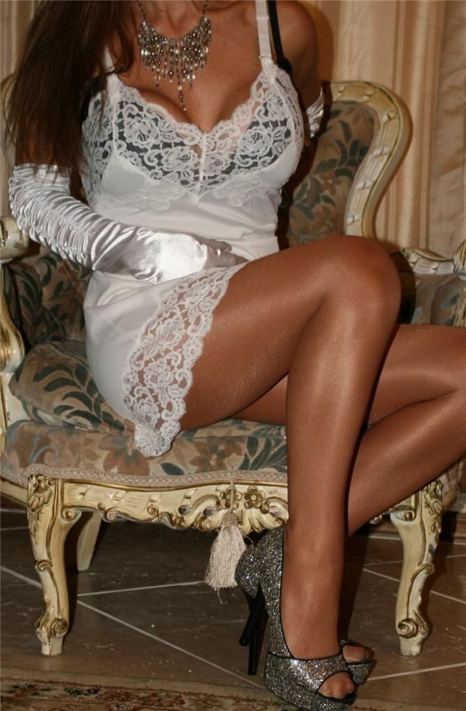Silver high heels and pantyhose