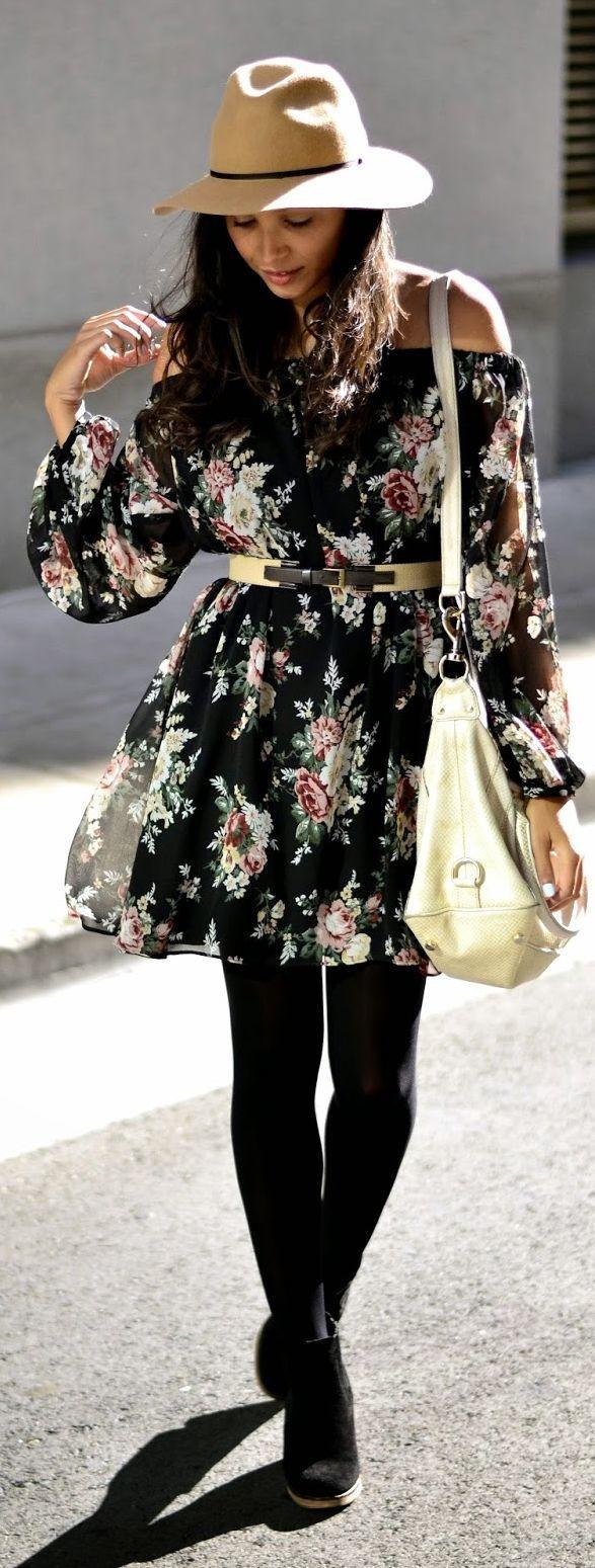 Asos Black Floral Off Shoulder Festival Mini Dress Fashion Summer Black Dress Dresses With Leggings [ 1549 x 587 Pixel ]