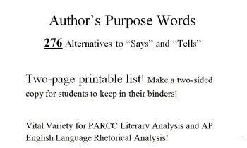 276 Author S Purpose Words Authors Purpose Ap English Words