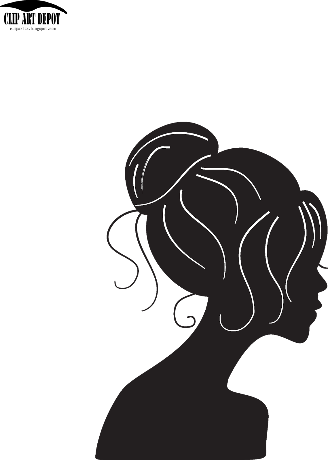 Clip Art Depot: Vector - beauty girl silhouette with black ...
