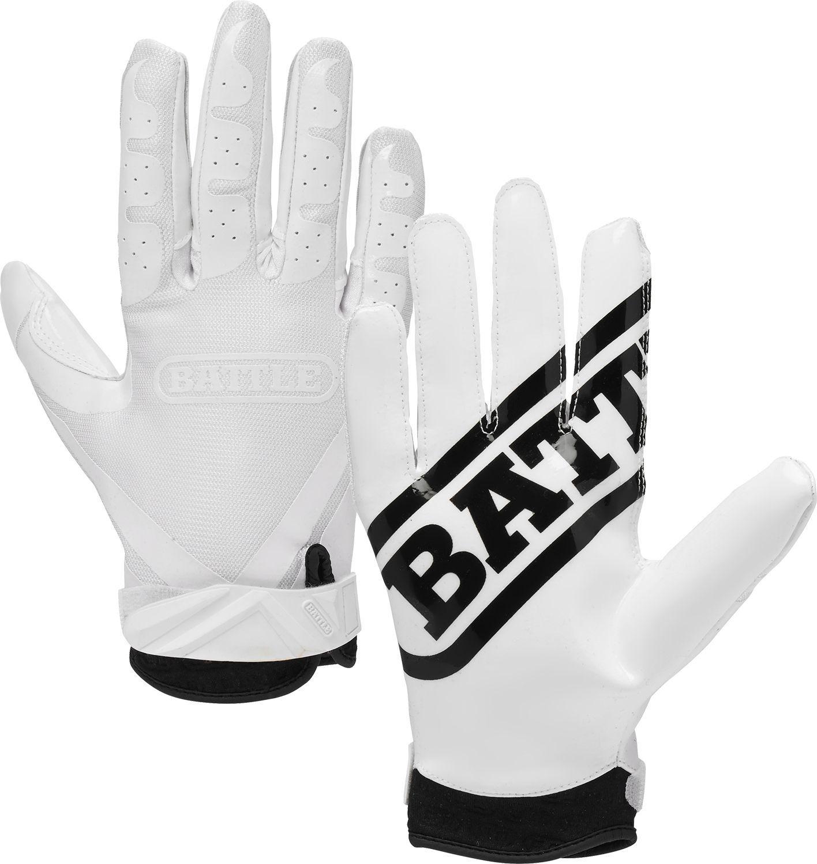 Battle adult ultrastick receiver gloves white football