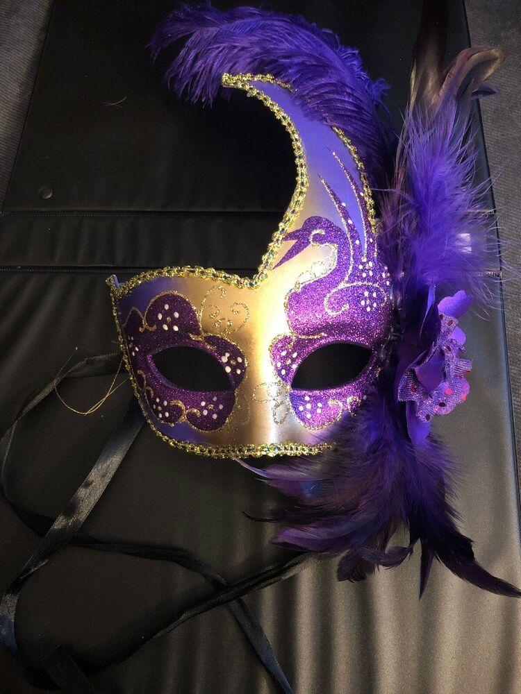 Feather Venetian Mardi Gras Masquerade Mask for Women Gold Black M6131