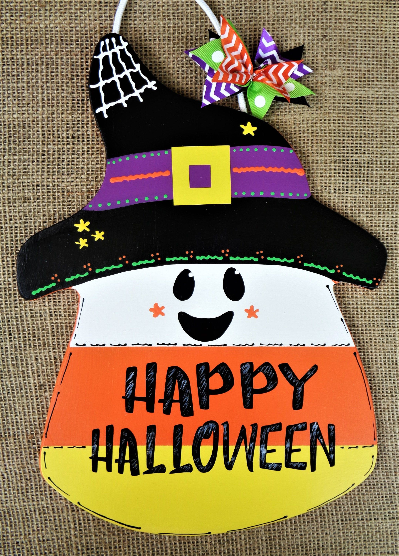 Happy Halloween CANDY CORN SIGN Pumpkin Wall Art Door