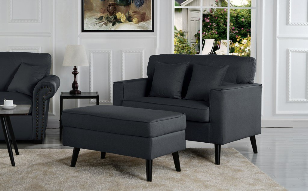 Timothy Mid Century Oversized Accent Chair With Footrest Living Room Chairs Modern Ottoman In Living Room Modern Living Room Black #oversized #living #room #chair #with #ottoman