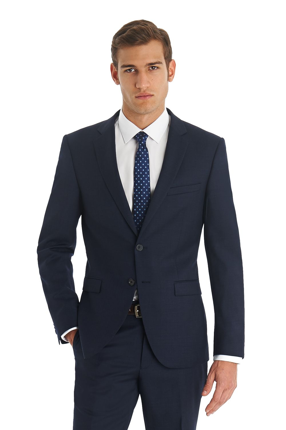 DKNY single breasted two button slim fit suit made from 100% Wool