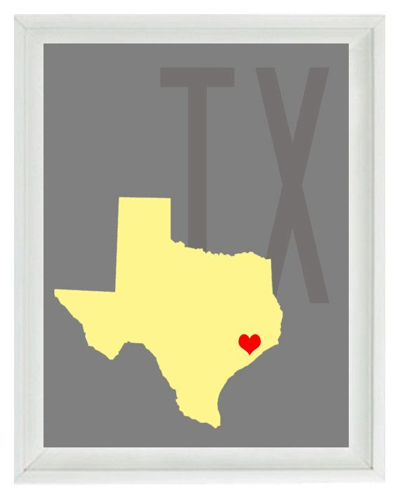 Texas Map Art Print - Custom Personalized Gray Yellow Decor Wedding ...