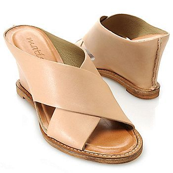 """Matisse """"Habitual"""" Leather Slip-on Crossover Strap Wedge Sandals"""
