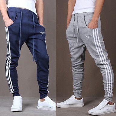 Men s Black Blue Gray Casual Stripe Sport Sweatpants Haren Pants ... 42ec2b4b1d4