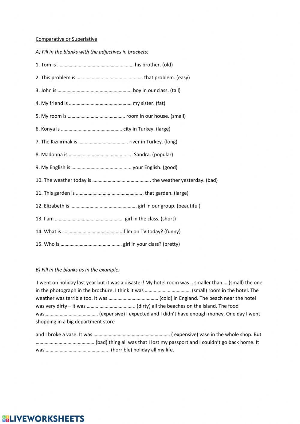 Degrees of Comparison Interactive worksheet Degrees of