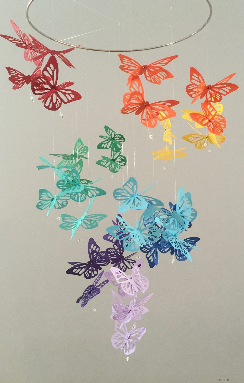 Spiral butterfly chandelier mobile rainbow nursery mobile baby spiral butterfly chandelier mobile rainbow nursery mobile baby girl mobile photo prop aloadofball Choice Image