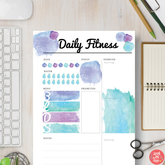 Instant Download Printable Planner Daily Fitness by StickWithSam - half sheet template