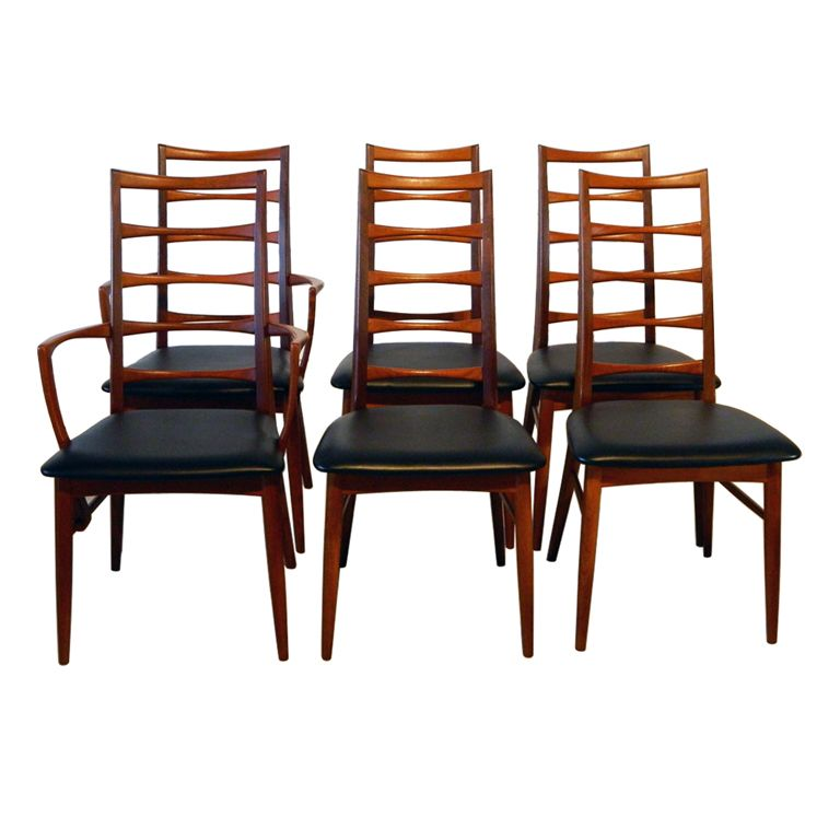 View This Item And Discover Similar Dining Room Chairs For Sale At   Set Of  Six Koefoeds Hornslet Teak Ladderback Chairs With Black Vinyl Seats.