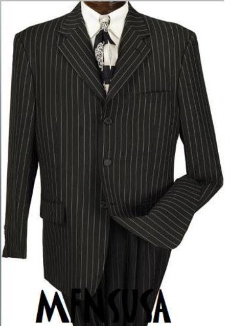 Men's Jet Black & White Pinstripe Suit 3-button Party Suits year ...