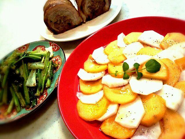 やっとの事で作りましたヾ(^v^)k さかぽんさん美味しいレシピ、ありがとうございますヽ(^0^)ノ - 152件のもぐもぐ - さかぽんさんの柿と蕪のシンプルサラダ by miyury