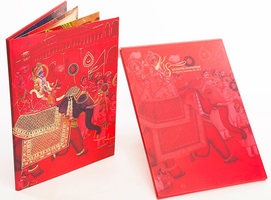 wedding card invite wordings%0A Royal Indian Wedding card in PinkRed and Royal procession image