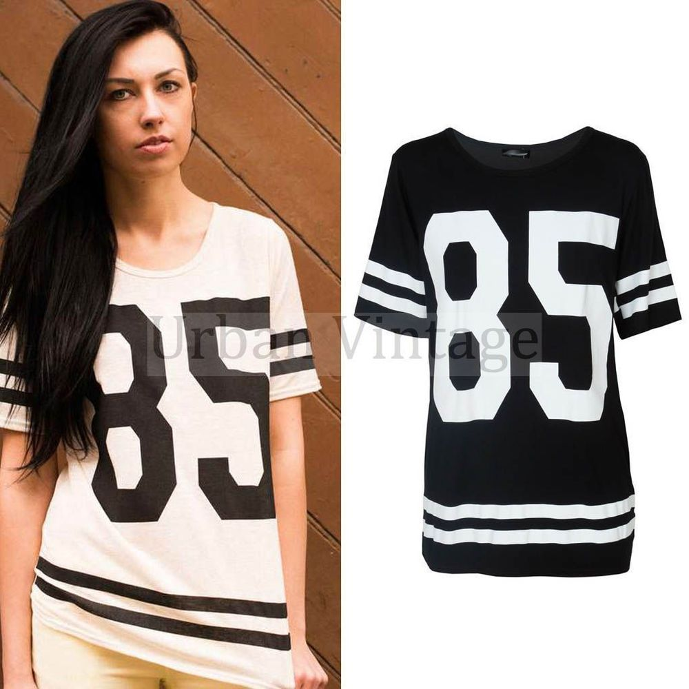 Black t shirt dress ebay - Womens Baseball Jersey Shirt Dress Baggy Sports T Shirt Top Fashion Oversized