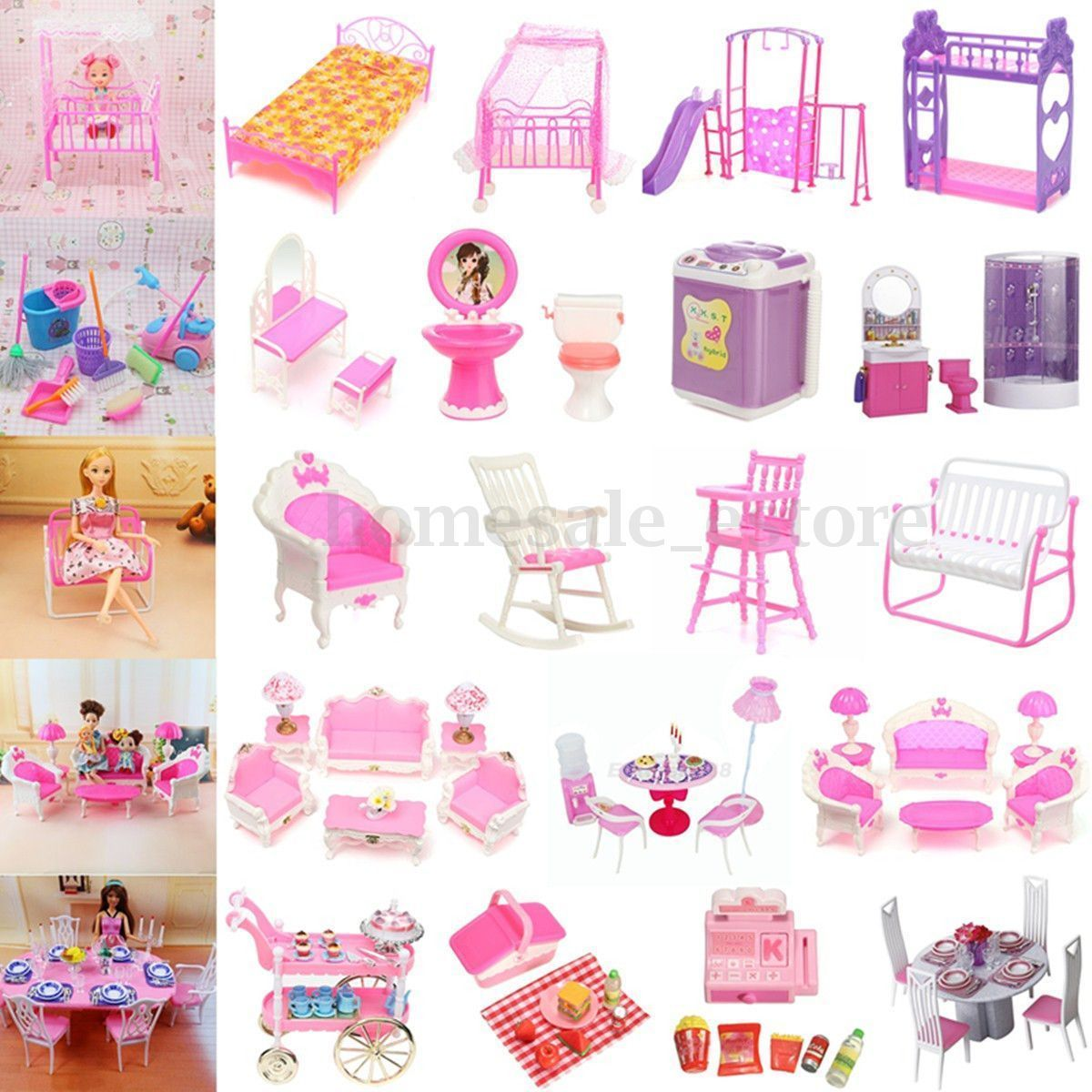 Dollhouse Miniature Furniture Accessories For Barbie Bathroom Living ...