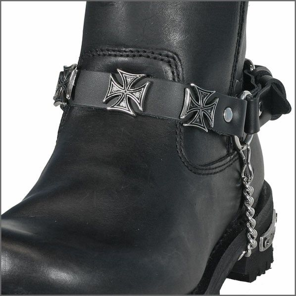 Motorcycle Maltese Iron Cross Boot Chains//Leather Biker Accessory-Free Shipping