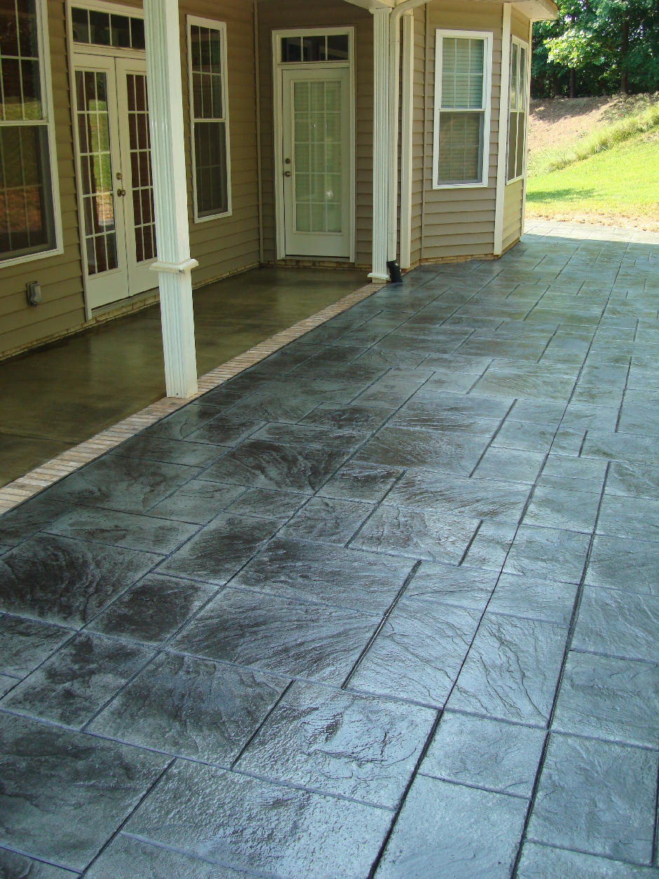 Stained Porches And Stamped Patio In French Grey With