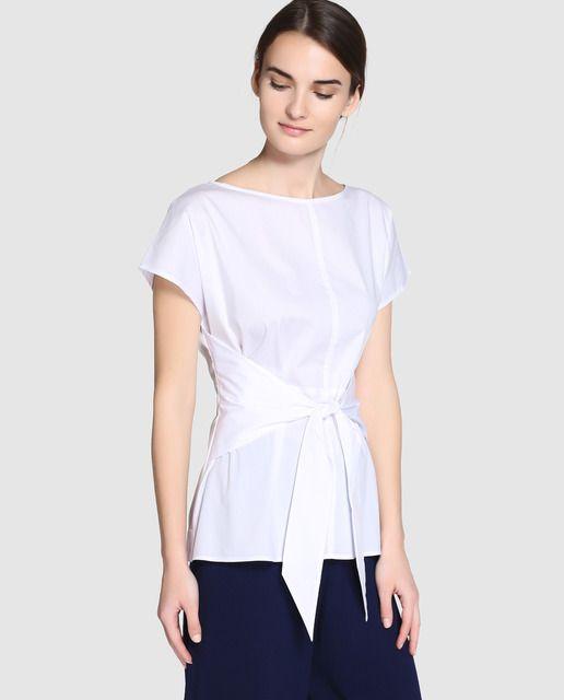 Blusa blanca de mujer Zendra El Corte Inglés con lazo en la cintura ... 7c7fc6c3405