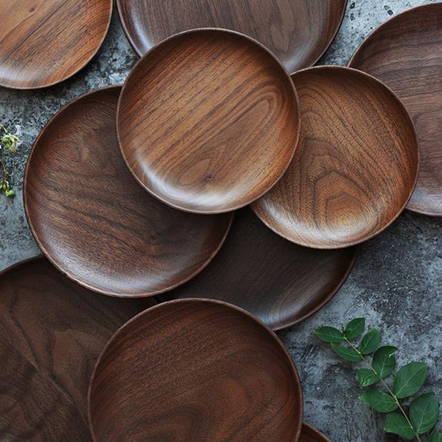 Naturliche Runde Holz Platten Nussbaum Holzschale Kuchen Snack Platte Dessert Serviertablett Gerichte Holz Utensilien Sushi Gerichte Serviertablett Kuche Holz
