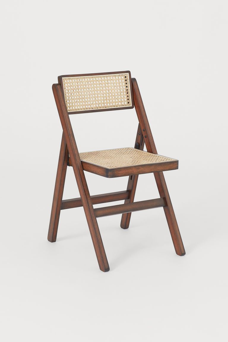 Wooden Folding Chair Brown Rattan Home All H M Gb In 2020 Wooden Folding Chairs Folding Chair Folding Dining Chairs