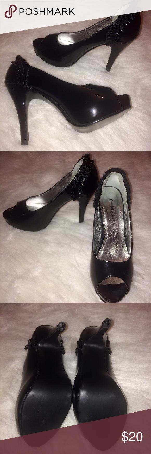 Rampage Black Peep toe heels Rampage Black peep toe heels. Size: 6.5. Pre-owned. Good condition! Like new. Shoes Heels