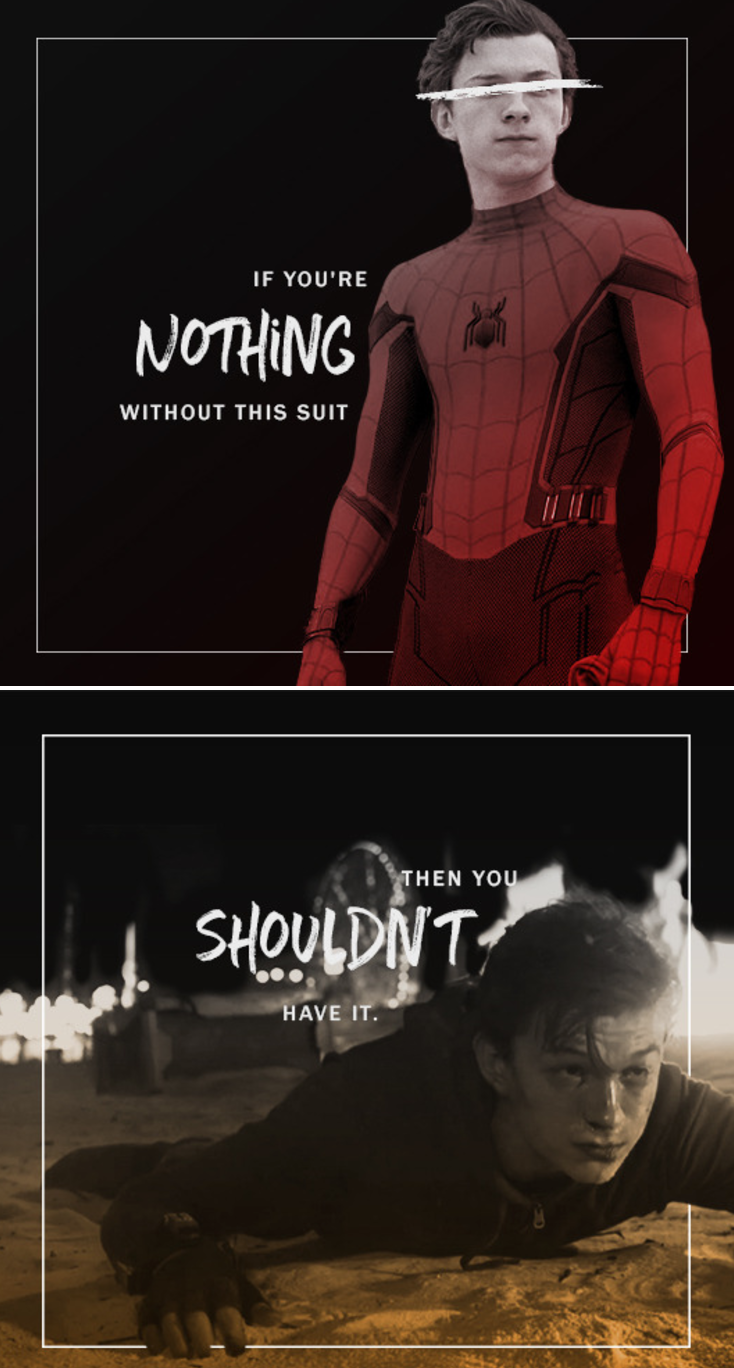 Most Profound Words Out Of Tony S Mouth Ever Tony Stark Iron Man Tom Holland Peter Parker Spider Man Tom Holland Marvel Marvel Memes