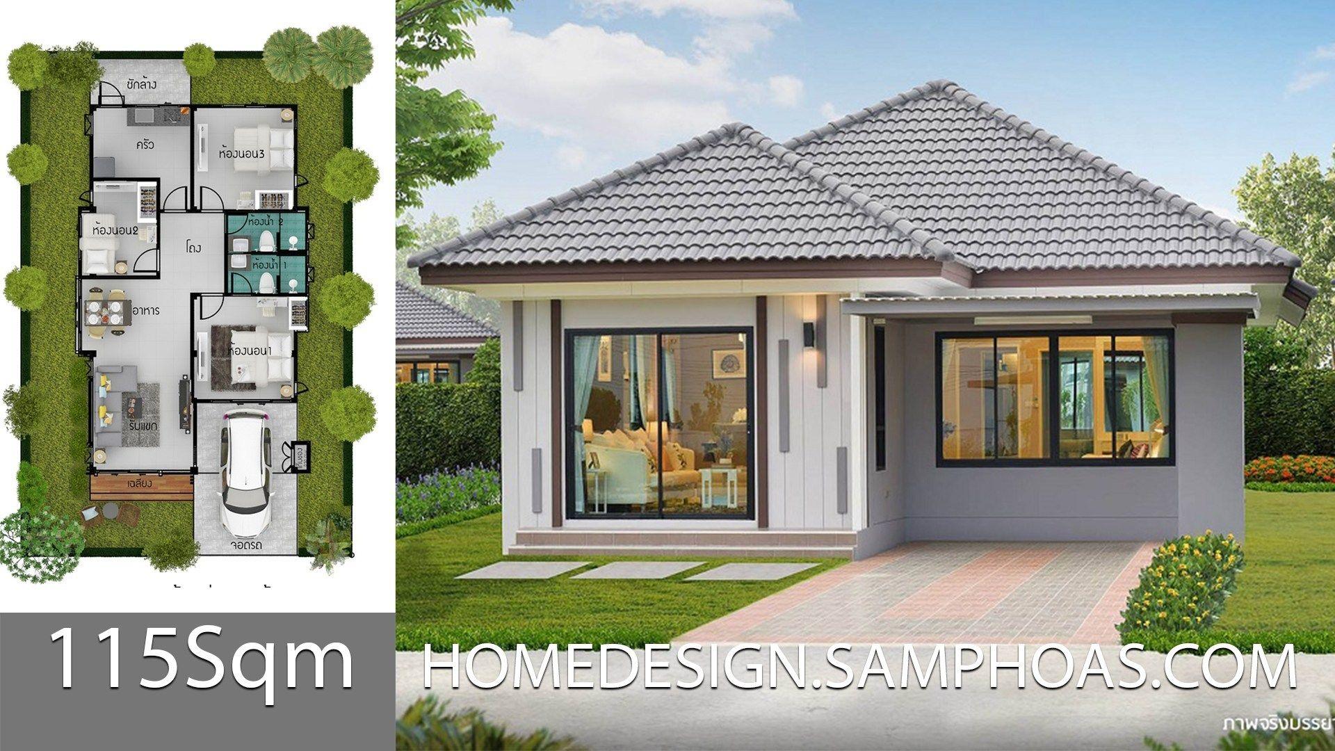 115 Sqm 3 Bedrooms Home Design Idea Rumah Halaman Dll
