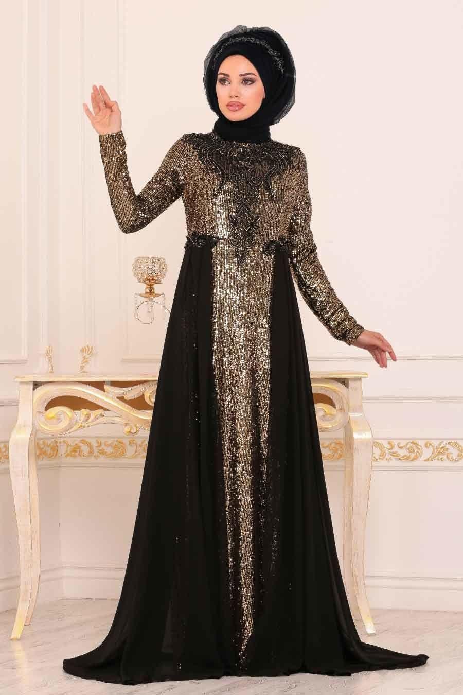 Tesetturlu Abiye Elbise Pul Payetli Siyah Tesettur Abiye Elbise 8617s Tesetturisland Com The Dress Moda Stilleri Ve Kadin Giyim