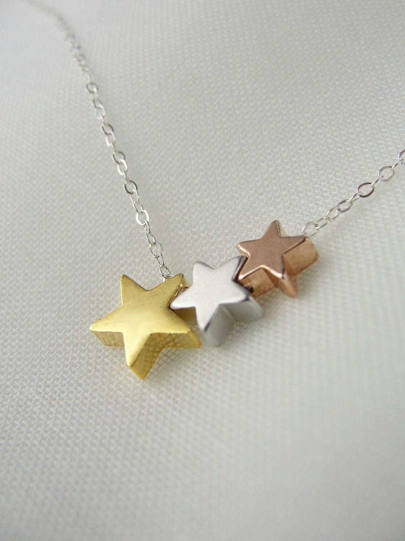 Star trio necklace tri color necklace star necklace with silver
