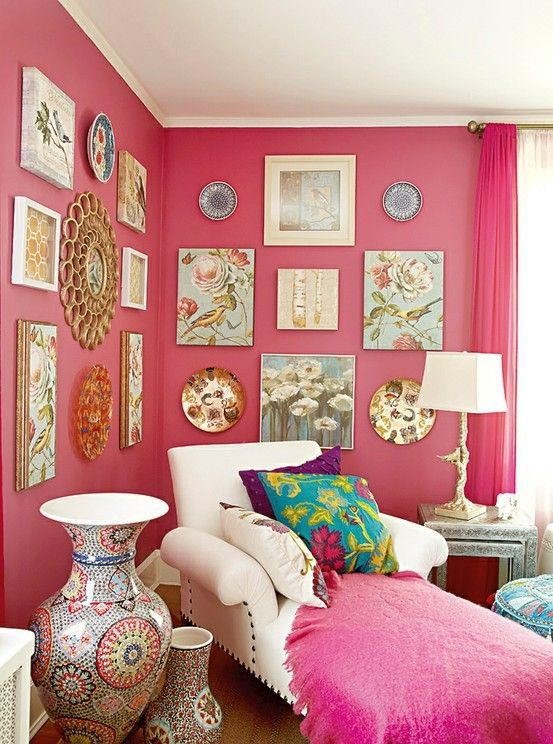 pink walls! Love the chaise, the pillows, the lamp, the art, love it all!