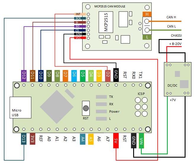 Arduino Nano v3 + MCP2515 8MHz + Vehicle CAN |