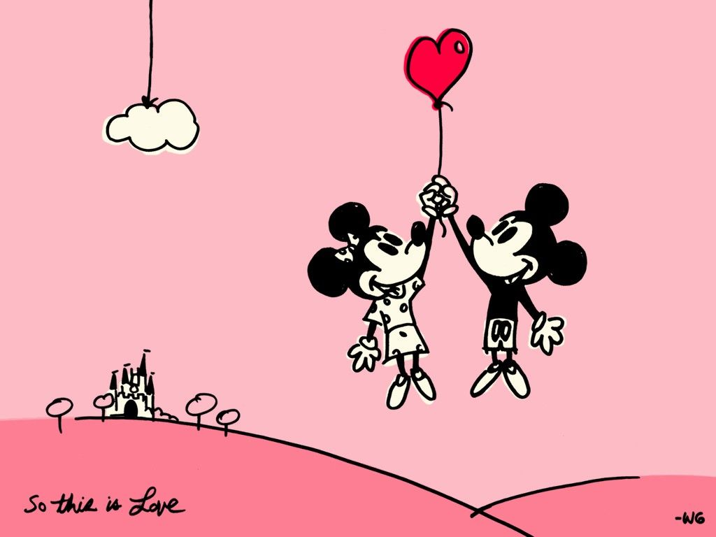 Mickey Mouse and Minie Valentine Wallpaper. Disney Wallpapers for PC ...