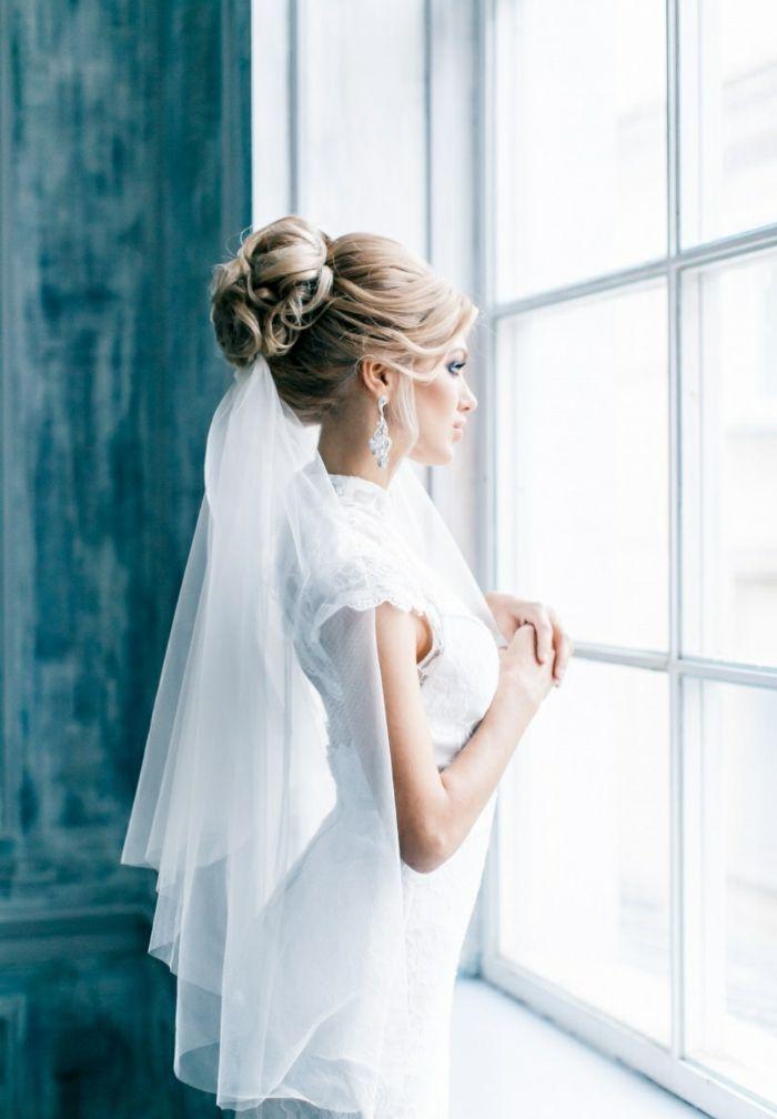 55 Brautfrisuren Stilvolle Haarstyling Ideen Fur Lange Haare Frisur Hochzeit Brautfrisur Schleier Hochzeit