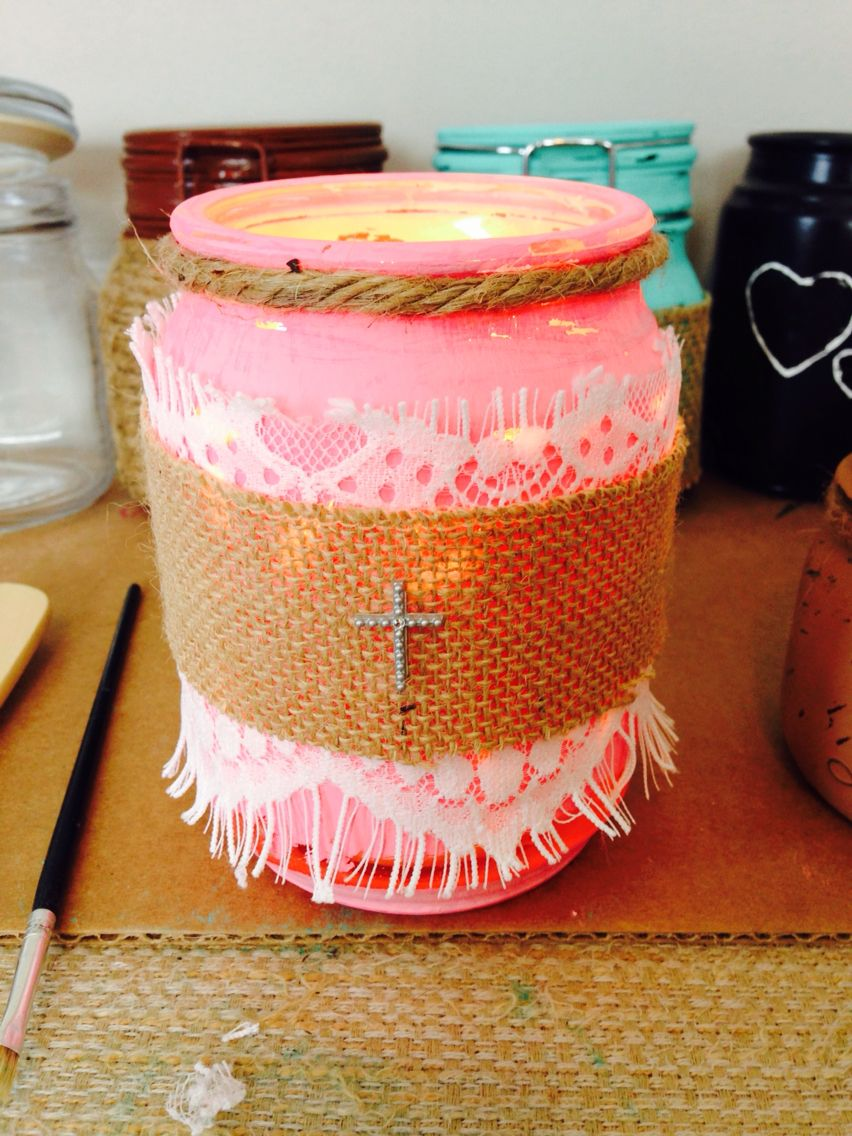 Pink distressed candle jar burlap and lace with tiny cross jars