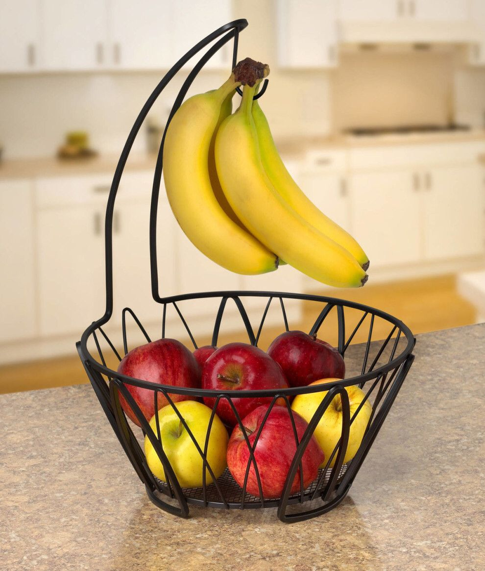 A fruit bowl and banana hook to make your produce